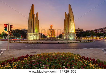 Moment of Democracy monument at Dusk (Bangkok Thailand)