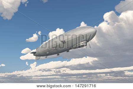 Computer generated 3D illustration with an airship