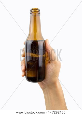 close up of hand holding the beer bottle on white background