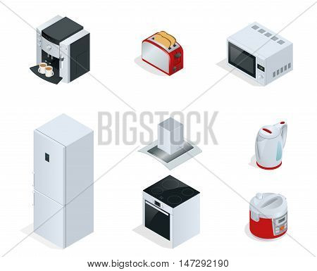 Isometric Home appliances. Set of household kitchen technics Coffee maker, toaster, microwave, kettle, multivarka, fridge, induction hob, extractor isolated on white. Vector
