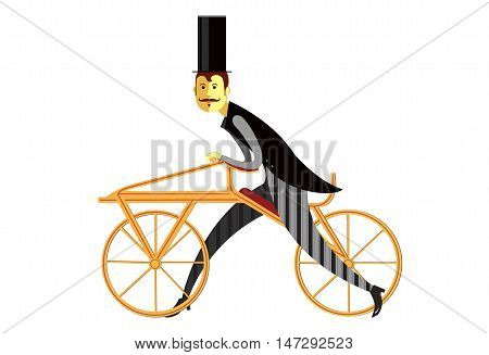 Gentleman cyclist in a flat style. Elegant man riding on a old bicycle. Retro bicycle flat cartoon vector illustration. Eps10. Isolated on a white background.