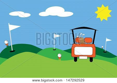 Gold Cart Sports Image with Clubs and Holes