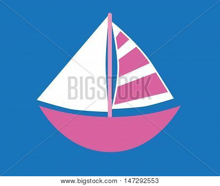 Isolated Pink Nautical Sailboat on Blue Background