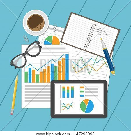 Business analytic concept. Planning and accounting, analysis, financial audit, seo analytics, working, management. Paper sheets and tablet with analytic graphs and charts. Notebook, glasses. Vector