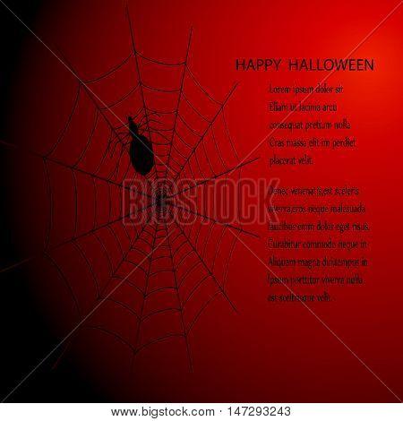 Halloween Dark vector background with spider web and spider