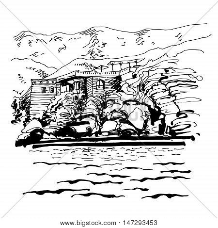 original black and white sketch drawing of Sveti Stefan island in Montenegro, Balkans, Adriatic sea, Europe, travel vector illustration