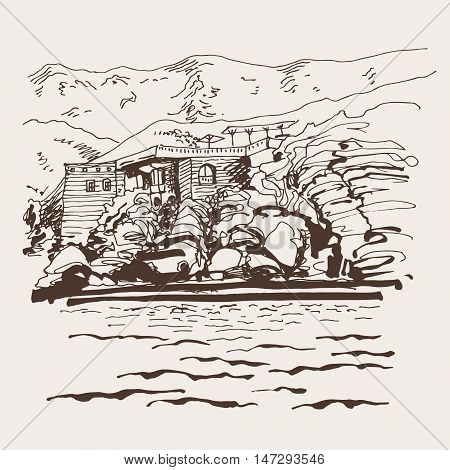 original sepia sketch drawing of Sveti Stefan island in Montenegro, Balkans, Adriatic sea, Europe, travel vector illustration