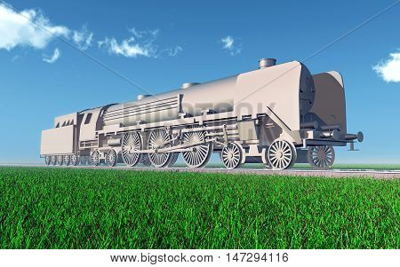 Computer generated 3D illustration with a steam locomotive