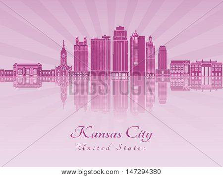 Kansas City skyline in purple radiant orchid in editable vector file