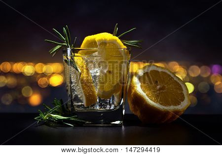 Gin With Tonic On A Background Of Night City