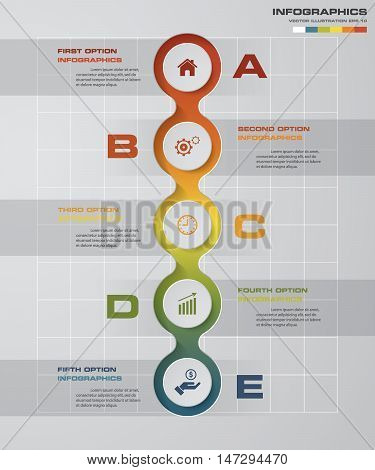 5 Steps diagram template/graphic or website layout. Vector. Step by step idea.