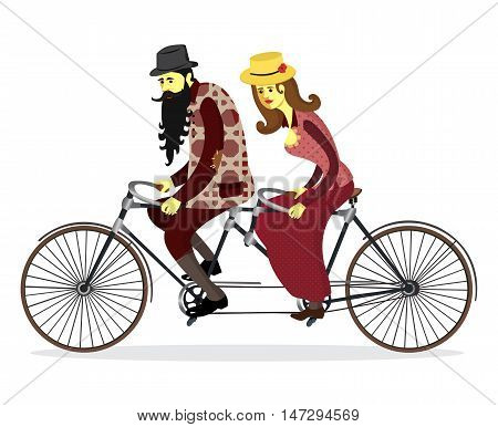 Couple riding tandem bicycle. Mature people couple riding twin bike together. Isolated couple old people. Vector illustration.