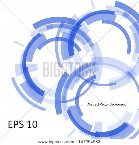 Abstract cyber background with three technical rings in the center. Blue Geometrical shapes on the white background. Beautiful vector detail for your futuristic web-design.