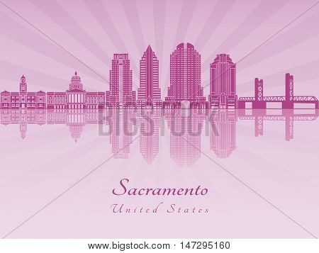 Sacramento skyline in purple radiant orchid in editable vector file