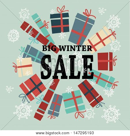 Winter sale background with black lettersgifts and snowflakes. Christmas sale. New year sale. Vector illustration