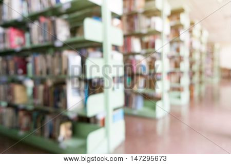 Blurred abstract background of public library with bokeh vintage tone