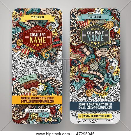 Cartoon colorful vector hand drawn doodles cinema corporate identity. 2 vertical banners design. Templates set