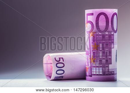 Euro banknotes. Five hundred euro banknotes.Toned Photo.