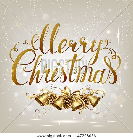 Merry Christmas hand drawn inscription and festive bells and cones on the shine background