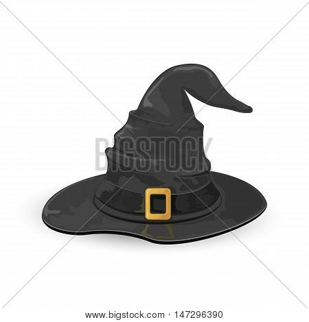 Black witch hat with golden buckle isolated on white background, illustration.