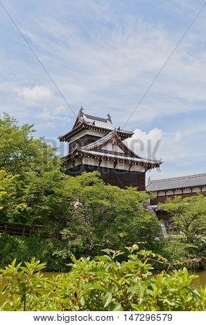 YAMATO KORIYAMA JAPAN - JULY 23 2016: Otemukaiyagura Turret of Yamato Koriyama castle Nara Prefecture Japan. Castle was erected in 1580 abandoned in 1873 and partly reconstructed in 1980s