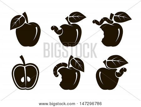 apple and worm. set of black icons on a white background
