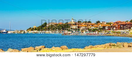Nessebar, Bulgaria - July 25, 2016: Port, cruise boats and old town panorama in Nesebar in Bulgaria