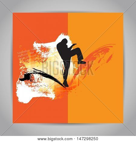 Karate kick. Vector illustration