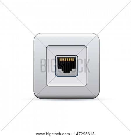 Network ethernet port. Symbol of network access.