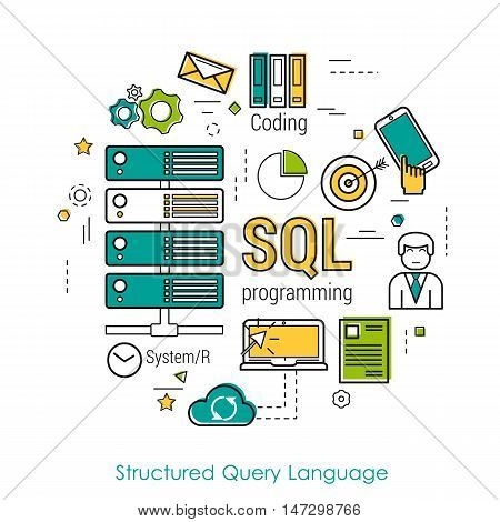 Vector Line Art Concept of Structured Query Language -SQL. Round banner for web resources and programming