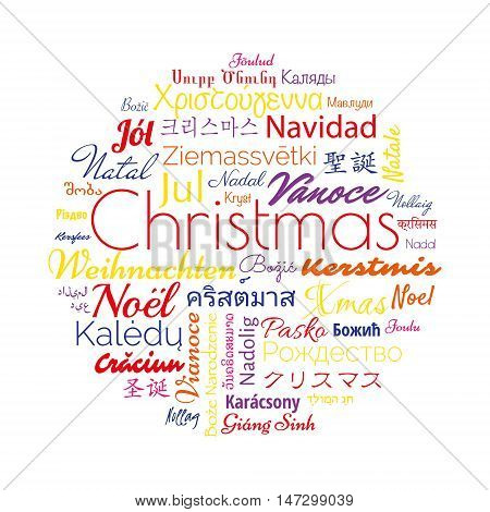 Christmas in different foreign languages of the whole world. Vector illustration for winter holidays.