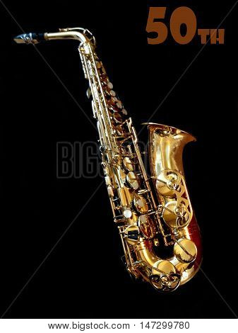 Abstract creative saxophone 50th birthday greeting card scene