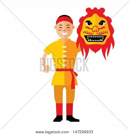 Boy with monster mask. Isolated on a white background
