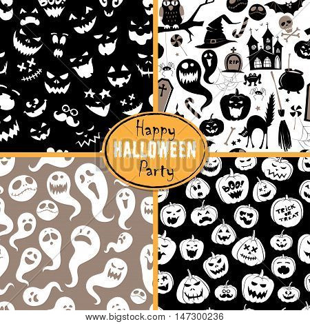 Set Of Seamless Background Abstract Pattern For Halloween With Pumpkin,  Candy, Ghost, Spider, Bat,