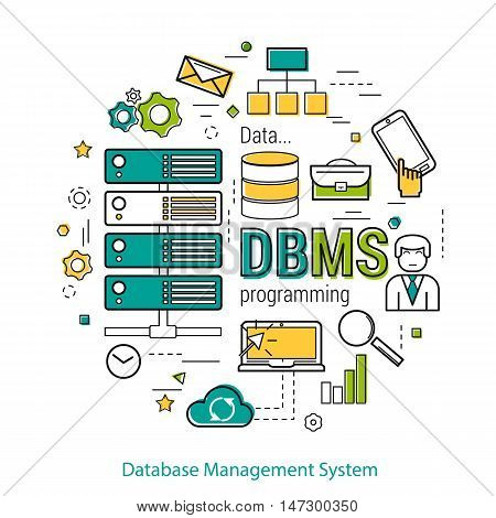 Vector Line Art Concept of Database Management Systemt - DBMS. Round banner for web resources and programming. Server elements