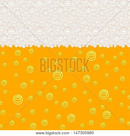 Background pattern with stylized image of beer with bubbles and foam. Vector illustration