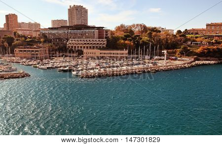 Old port (Vieux-Port). Marseille is France's largest city on the Mediterranean coast and largest commercial port.