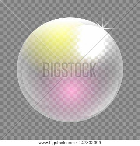 Transparent soap bubble vector clip art. Iridescent bubble sphere circle.