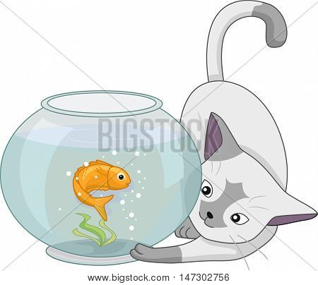 Animal Illustration of a Curious Cat Playing with a Goldfish in a Fish Bowl