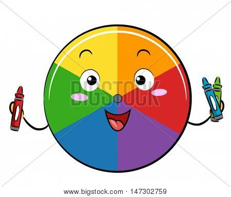 Mascot Illustration of a Color Wheel Holding Red, Blue, and Green Crayons
