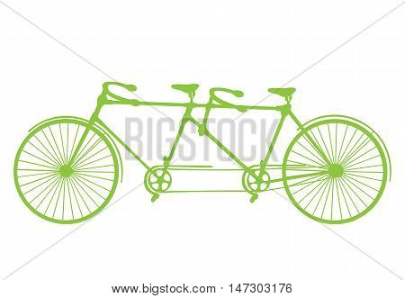 Retro green silhouette tandem bicycle isolated on a white background. Vector.