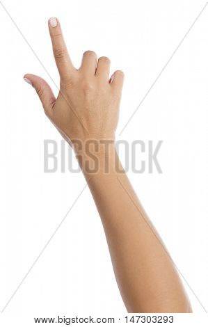 Woman Touching Virtual Screen Isolated