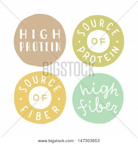 Badges set. High protein, fiber, source of protein. Vector hand drawn illustration
