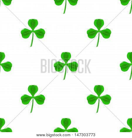 Green Clover Seamless Pattern on White. Shamrock Background