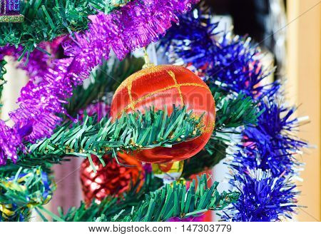 Christmas Toys And Ornaments On The Christmas Tree