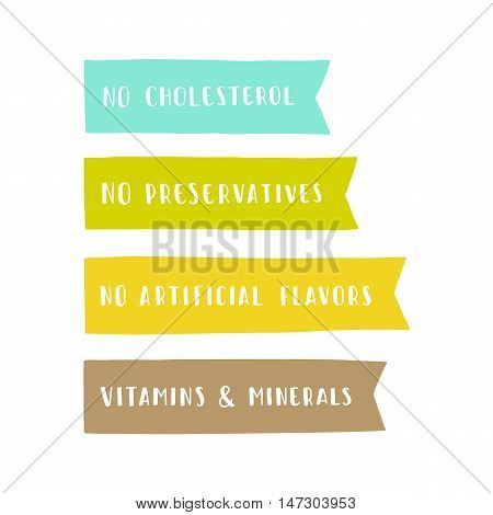 Set of badges. Vitamins and minerals, no cholesterol, preservatives, artificial flavors. Vector hand dawn illustration