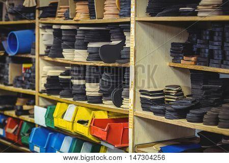 Shoe insole in shelf in workshop