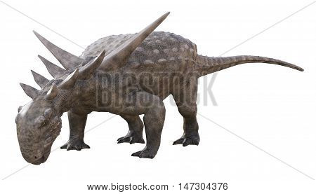 3D rendering of Sauropelta feeding, isolated on white background.
