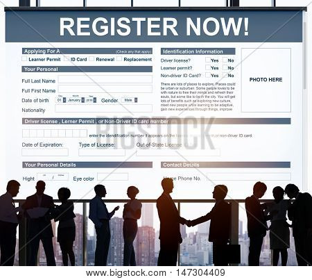 Register Now Application Form Concept