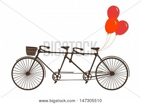 Classic romantic tandem bicycle with balloons. Vector.